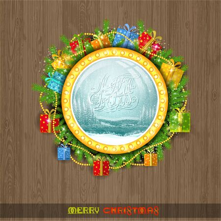 snowstorm: christmas wreath on the window. Winter forest landscape with snowstorm Illustration