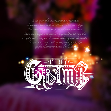 curle: Merry christmas lettering with sparkles on blurred background with candles on violet Illustration