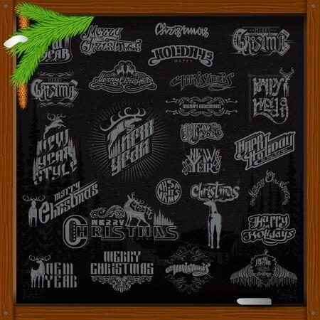ellements: Big set of Christmas and new year ellements. lettering with deer on black chalkboard Illustration