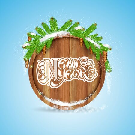 curle: New year lettering on round wood border with snowy fir tree branch and cones on blue background