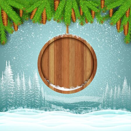 wooden circle: Winter frost landscape with round wood border from fir tree branch