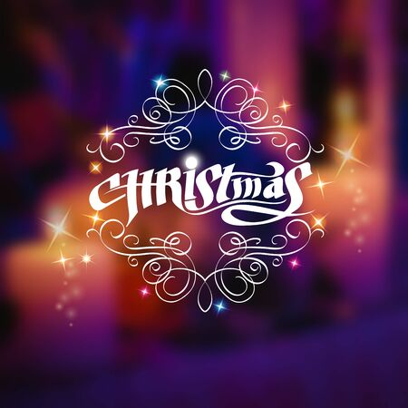curle: Christmas shiny lettering with curles pattern on blurred background with candles