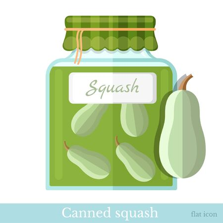 canned: flat icon glass jar of canned squash