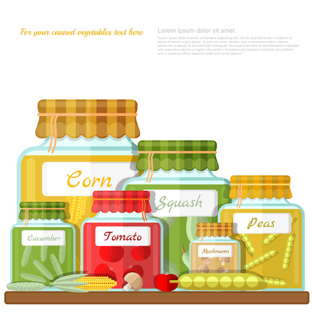 flat illustration of shelf with glass jars of different canned vegetables