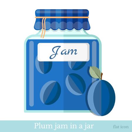 glass jar: flat icon glass jar of plum jam