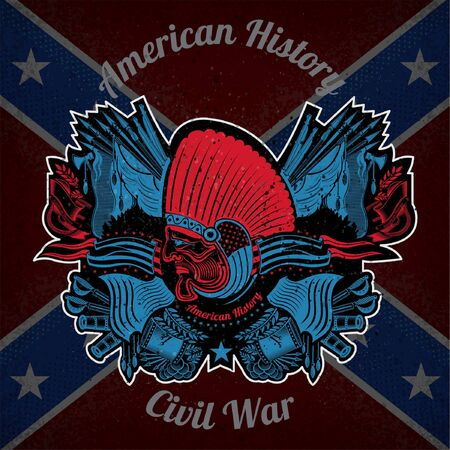 indian weapons: color print with indian head and vintage weapons on Confederate flag background. Brand or T-shirt style