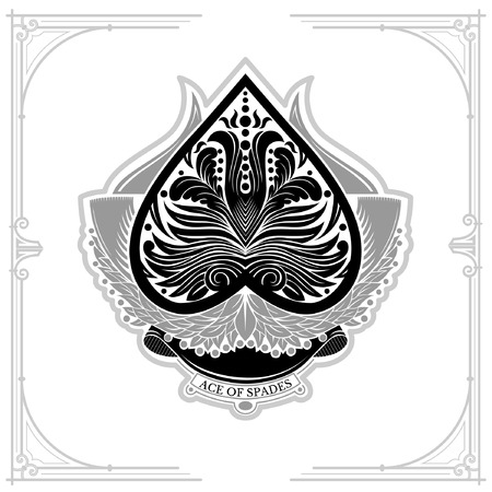 ace of spades: Ace of spades with laurel wreath and floral pattern inside. Black on white Illustration
