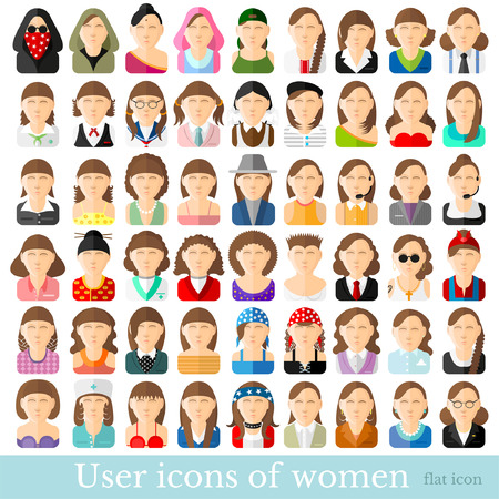 masseur: Set of women icons in flat style Different occupations age and style Illustration