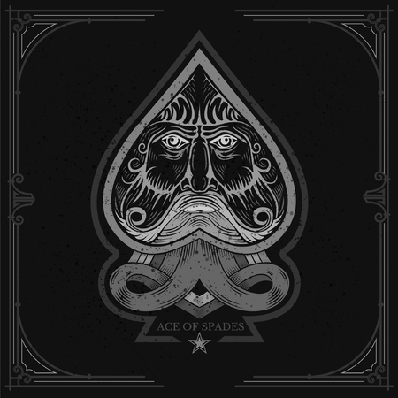 ace: Ace of spades with Neptune face inside. White on black Illustration