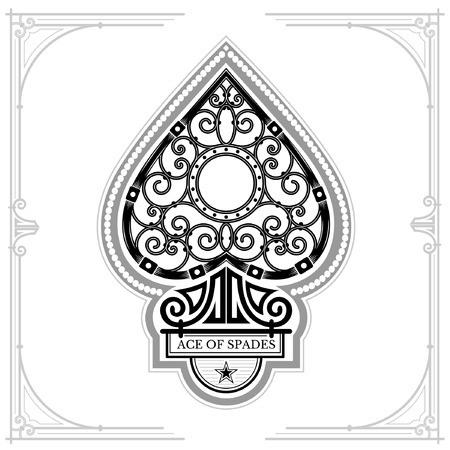 Ace of spades with forging curl pattern inside. Black on white Illustration