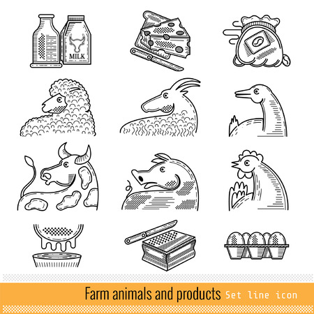 ferm: Set of Outline Web Icon. Domestic animals and products Illustration