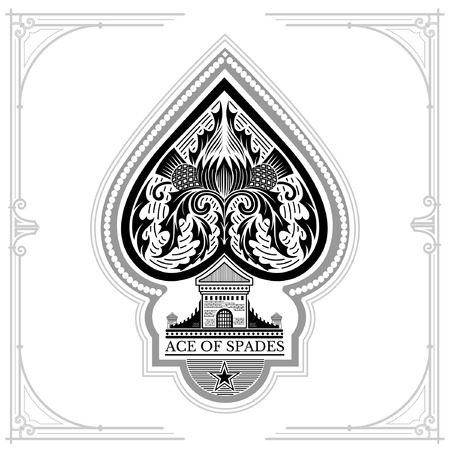 spades: Ace of spades castle and thistle pattern inside. Black on white