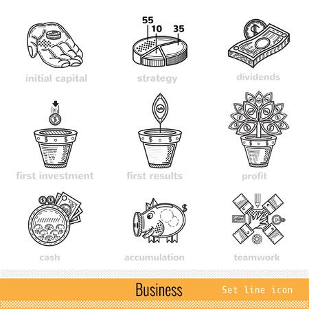 busines: Set of Busines Outline Web Icons