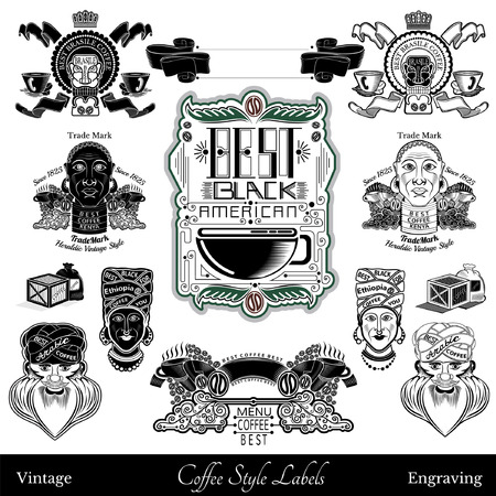 god box: Set of coffee labels and elements from different part of world. isolated black on white