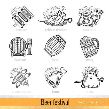 bbq barrel: Set of Beer Festival Outline Web Icon Illustration