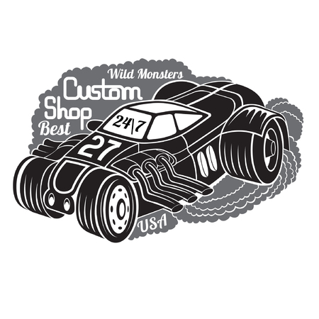 custom car: silhouette of hot rod car in smoke with best custom shop lettering Illustration