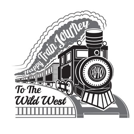 antigua locomotora con vagones y el texto feliz viaje en tren en la etiqueta de humo en el fondo blanco