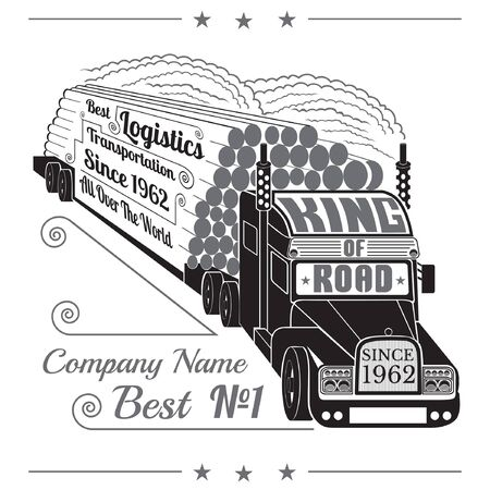 autotruck: silhouette of truck with trailer of logs or timber and lettering king of road isolated on white Illustration