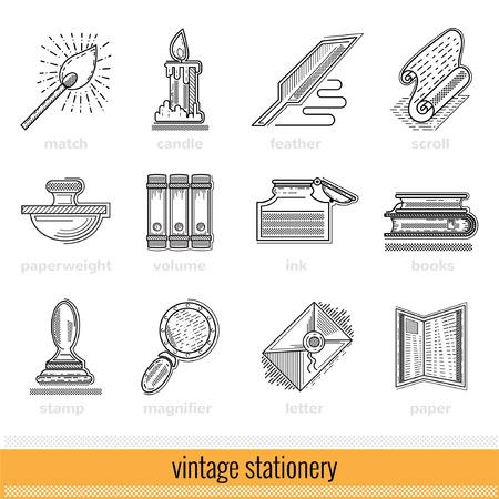 Set of Outline Web Icon. Vintage Stationery Illustration