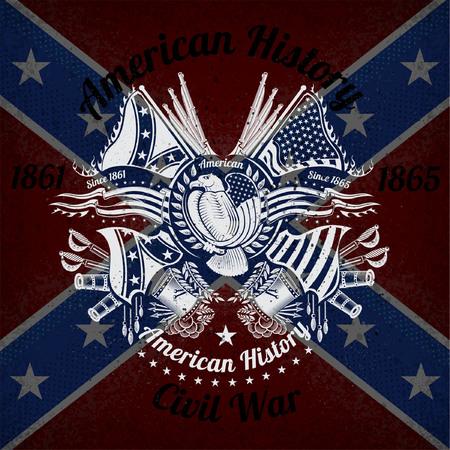 Weiß-Druck mit Adler und Vintage-Waffen auf Konföderierten Flagge Hintergrund. Marke oder T-Shirt-Stil