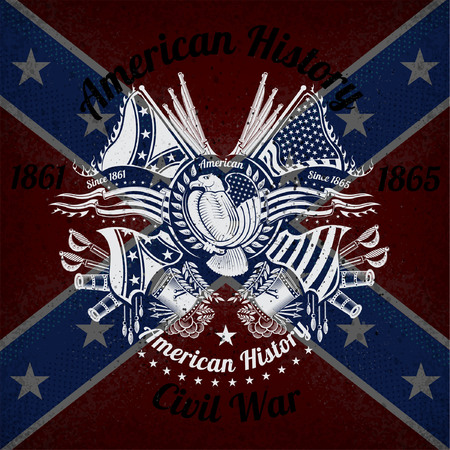 witte opdruk met adelaar en vintage wapens op Confederate vlag achtergrond. Merk of T-shirt stijl
