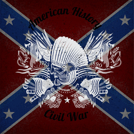 indian weapons: white print with indian head and vintage weapons on Confederate flag background. Brand or T-shirt style