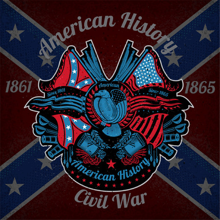 grunge flag: color print with eagle and vintage weapons on Confederate flag background. Brand or T-shirt style