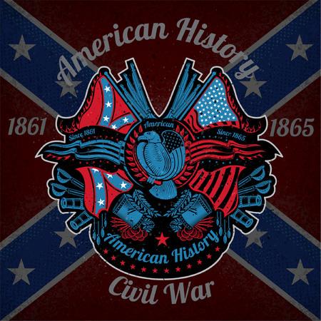 bandera blanca: de impresión en color con armas de águila y de la vendimia en el fondo de la bandera confederada. estilo de la marca o una camiseta