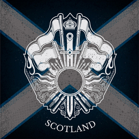 white coat: White Coat of Arms With Circle Frame and Vintage Weapons on Scotland Flag Background. Brand or T-shirt style Illustration