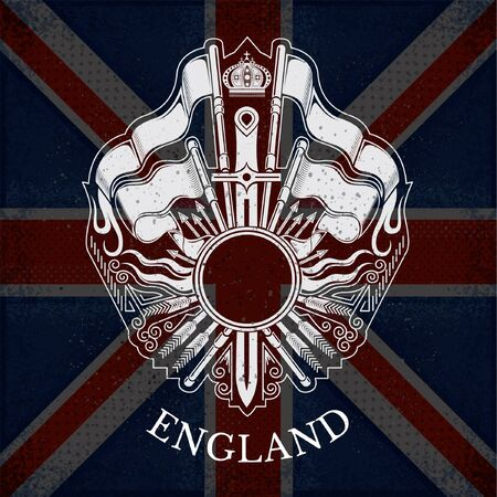 white coat: White Coat of Arms With Circle Frame and Vintage Weapons on Britain Flag Background. Brand or T-shirt style Illustration