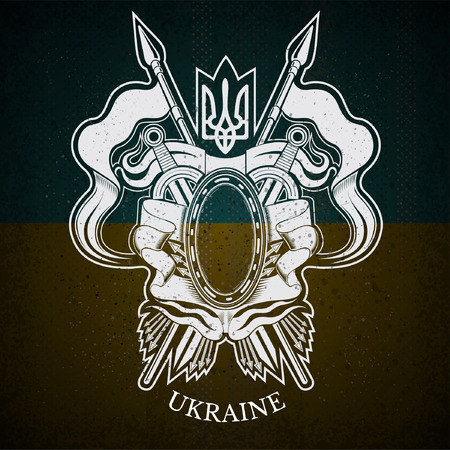 white coat: White Coat of Arms With oval Frame and Vintage Weapons on Ukraine Flag Background. Brand or T-shirt style