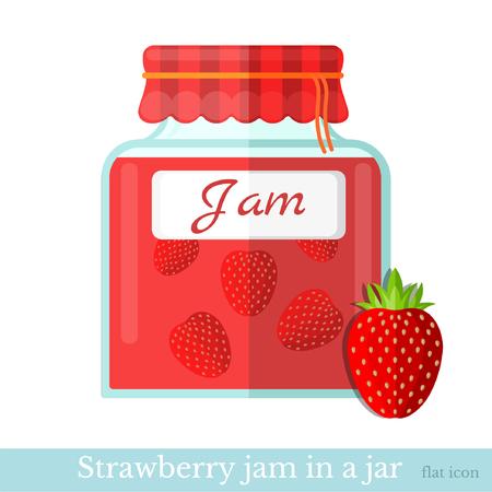 strawberry jam: flat icon glass jar of strawberry jam Illustration