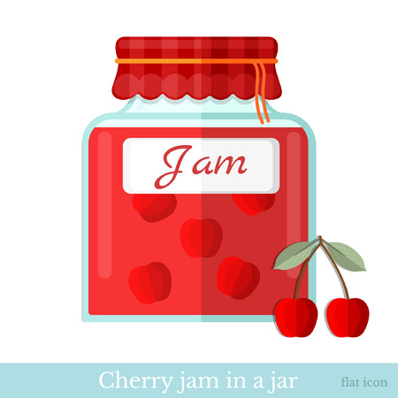 glass jar: flat icon glass jar of cherry jam Illustration