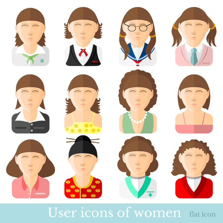 masseur: Set of women icons in flat style. Different occupations age and style