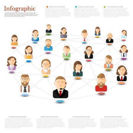 conection: Flat concept business or connection infographic. Group of people interconnected