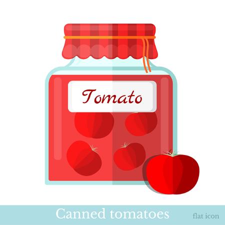 glass jar: flat icon glass jar of canned tomato