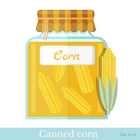 sweet corn: flat icon glass jar of canned sweet corn Illustration