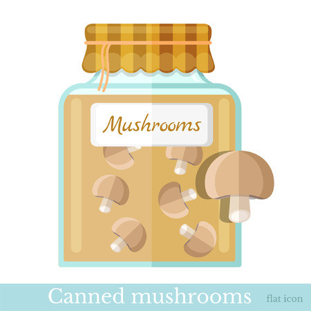 glass jar: flat icon glass jar of canned mushrooms Illustration