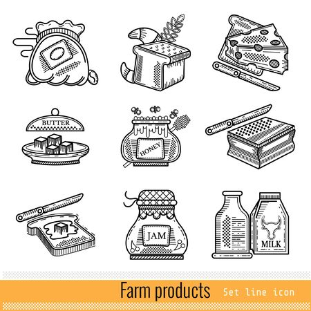 ferm: Set of Outline Web Icon. Farm products