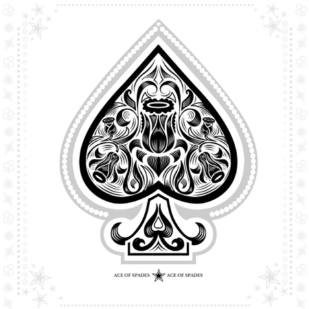 ace of spades with flower pattern inside. black in white
