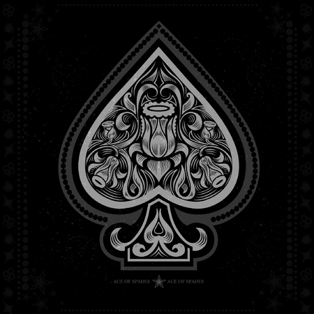 ace: ace of spades with flower pattern inside. white in black
