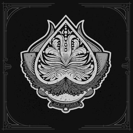 ace of spades: Ace of spades with laurel wreath and floral pattern inside. White on black