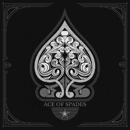 Ace of spades mit Blumenmuster im Inneren. Weiß auf Schwarz