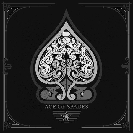 ace of spades: Ace of spades with floral pattern inside. White on black