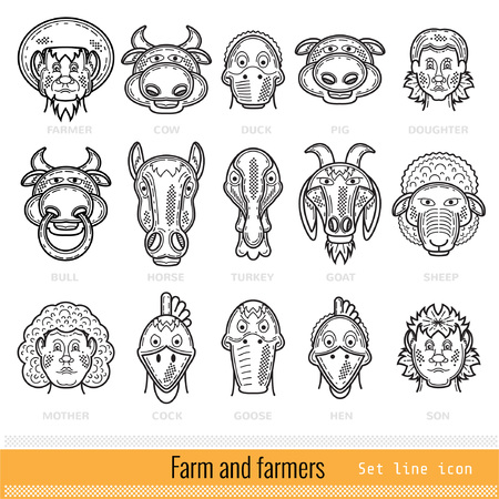 Set of Farmer Family and Farm Animals Outline Web Icons