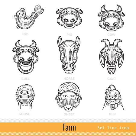 animals outline: Set of Farm Animals Outline Web Icons