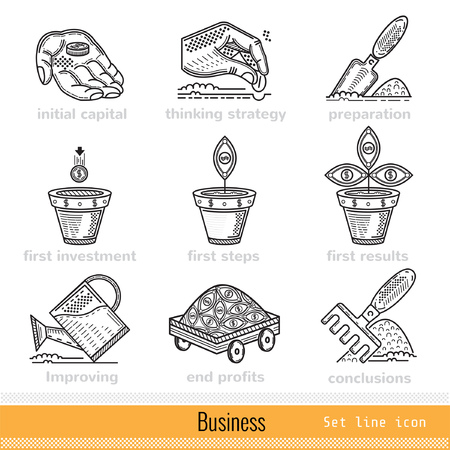 busines: Set of All Steps of Busines Outline Web Icons