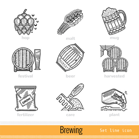 brewing: Set of All Steps of Brewing Outline Web Icons Illustration