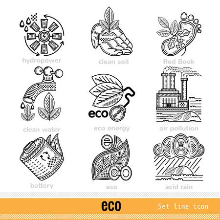 kwaśne deszcze: Set of Eco Problems and Decision Outline Web Icons Ilustracja