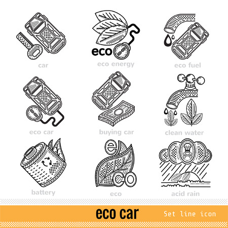 kwaśne deszcze: Set of Eco Car Outline Web Icons